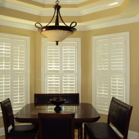 Graber Traditions painted shutters with divider rails